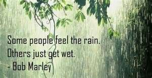 Some people feel the rain, other just get wet - Bob Marley