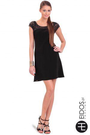 Sukienka czarna z wstawką z #koronki na dekolcie i na plecach