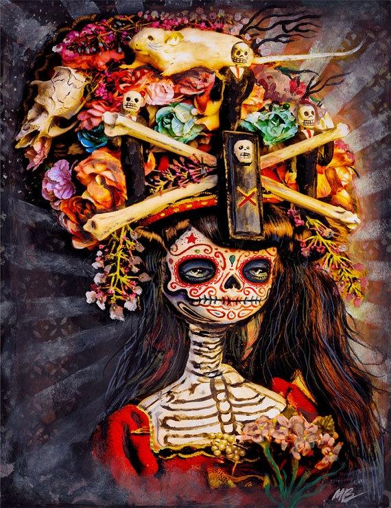 Dia De Los Muertos Lady Skeleton at lizzyfink