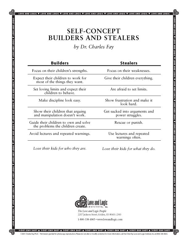 11 best handouts from love and logic images on pinterest love and build your childs self concept or tear it down a practical parenting handout yelopaper Gallery