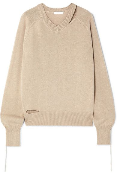a1411dd2 Helmut Lang | Distressed cutout cotton, wool and cashmere-blend sweater |  NET-