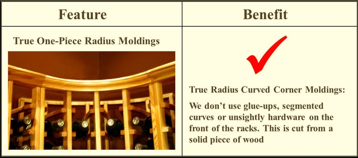 Choose curved corner racks that have a true radius curved corner molding for a beautiful and clean look. Choose your own wine rack by going to this page - http://www.winecellarspec.com/spec-series-wine-racks/. Wine Cellar Specialists  858 West Armitage Avenue #385 Chicago, IL 60614  Toll Free: 866-646-7089  Illinois Office: 773-234-0112