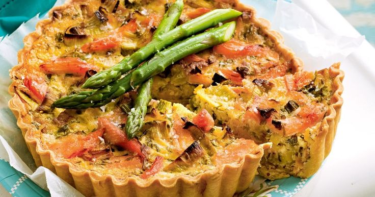 Served with a crisp green salad, this salmon and leek quiche goes down a treat!