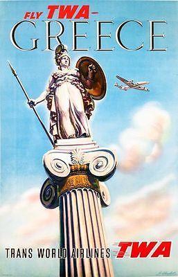 Vintage TWA Flights to Greece Travel Poster A3 Print