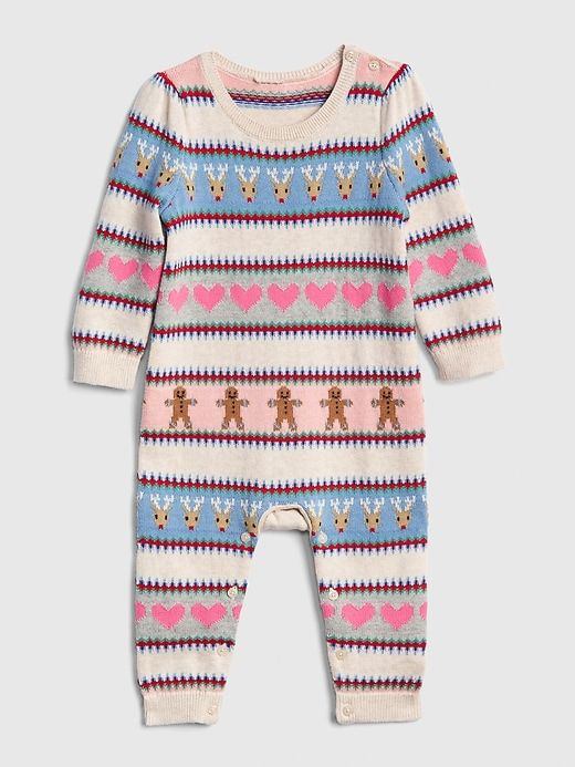 75f2bc8c1 Gap Baby Holiday Print Sweater One-Piece Multi