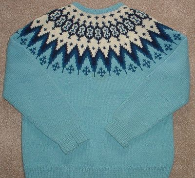 Label: Handknitted 100% Wool Misses' Sweater, Siril Sweater Shop, Made in Norway