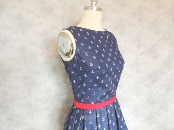 Anchor Dress  Nautical Navy Blue Sailor Boat by OhMeOhMyClothing