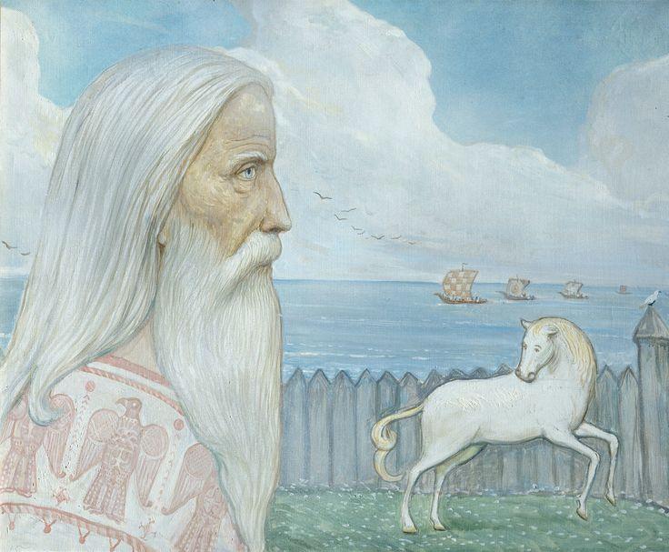 The Island of Rugen. Priest by Ilya Glazunov, from the triptych Grandsons of Gostomysl, 1986.