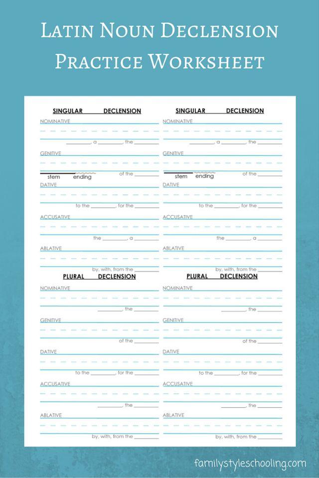 Latin Nouns Declension Free Printable   Free printable and ...