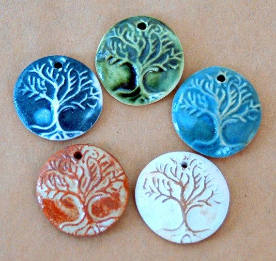 5 Handmade Ceramic Pendant beads  Tree of Life Beads by beadfreaky, $11.50