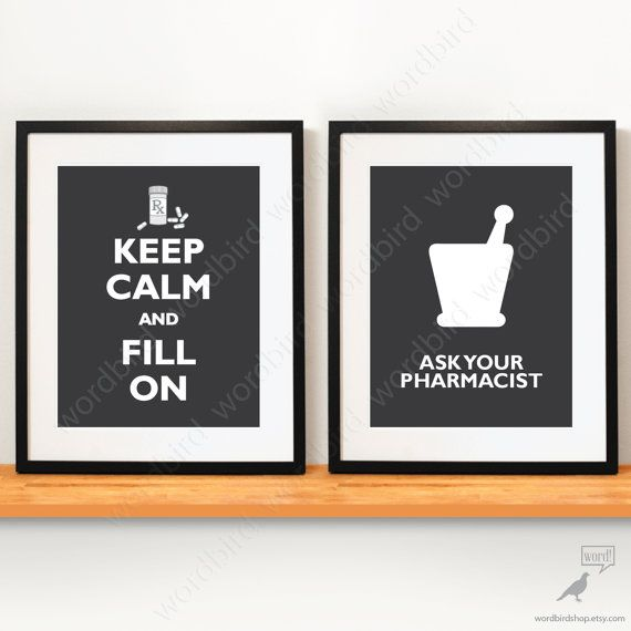 Set of 2 / Pharmacist gift pharmacy poster by WordBirdShop on Etsy, $18.50