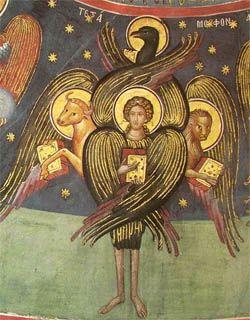 Tetramorph symbolizing the unity of the Gospel. 16th century fresco from Meteora, Greece.