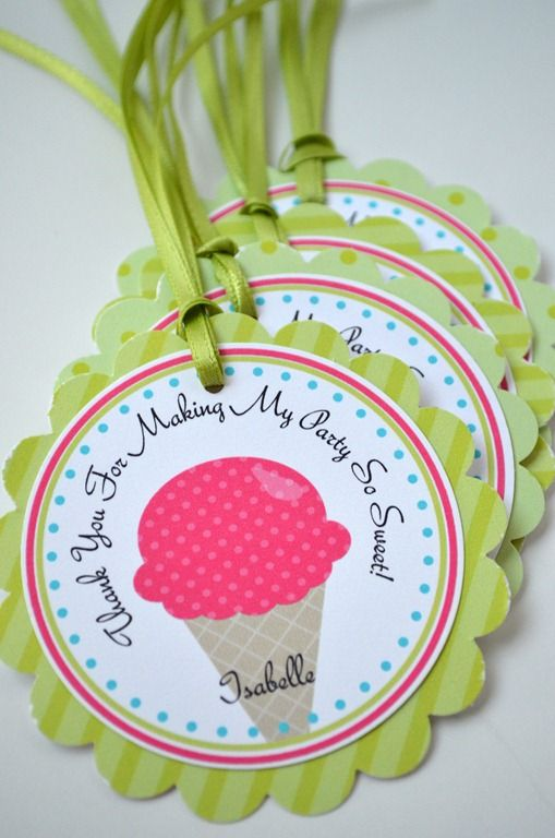 Ice Cream Party - Party Favor Gift Tags