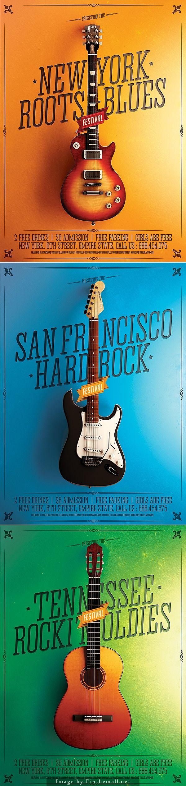 Minimal Rock Festival Posters by Ali Rahmoun