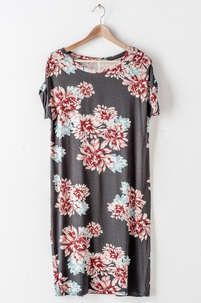 Roll Sleeve Floral Shift Dress