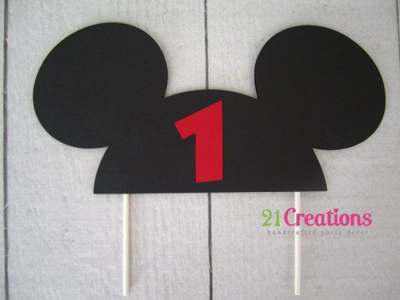 Mickey Mouse Cake Topper with Age by 21CreationsToo on Etsy