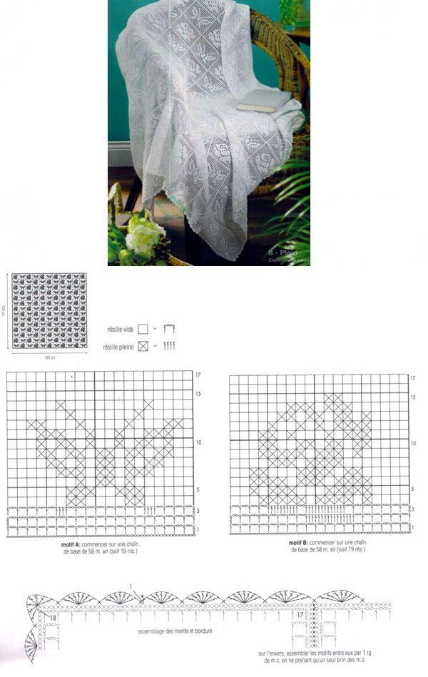 Филейное покрывало с бабочками и цветами. Схема