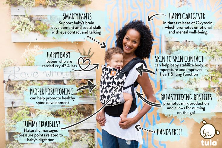 We are delighted to be part of the babywearing community to raise awareness, share stories, and support the simple, yet so beneficial, act of babywearing! Check out some of the many benefits of babywearing in this image!