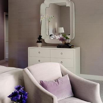 White Art Deco Mirror Over White 6 Drawer Dresser