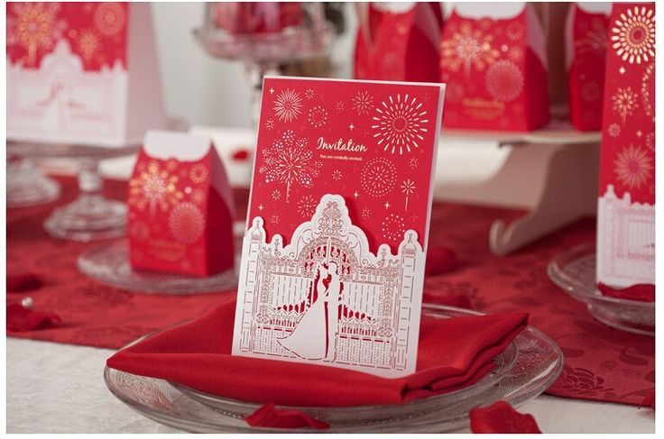 50 Pcs/Lot, Red Hollow Lover in Celebration Palace red and gold Wedding Invitation Card with Envelopes and Seal, Free Printing-in Event & Party Supplies from Home & Garden on Aliexpress.com | Alibaba Group