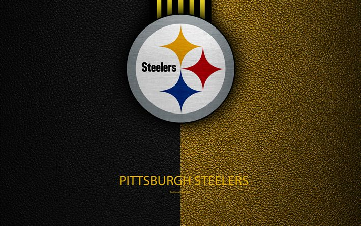 Download wallpapers Pittsburgh Steelers, 4K, American football, logo, leather texture, Pittsburgh, Pennsylvania, USA, emblem, NFL, National Football League, Northern Division