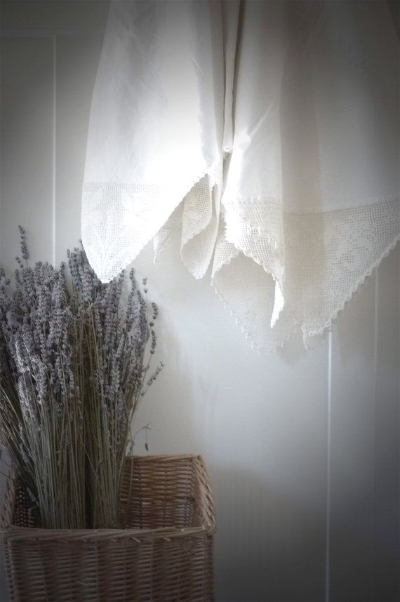 Vintage Farmhouse Tablecloth Filet Lace by gardenofsimples on Etsy, $34.95