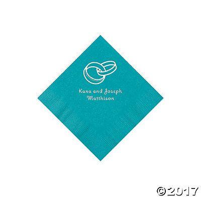 Turquoise Wedding Ring Personalized Napkins - Beverage