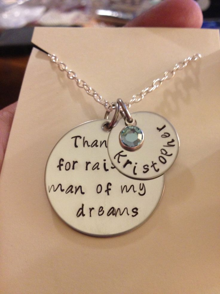 Perfect Mother in Law Necklace Thank You for Raising the man of my dreams. MOTHER DAY. $24.00, via Etsy.