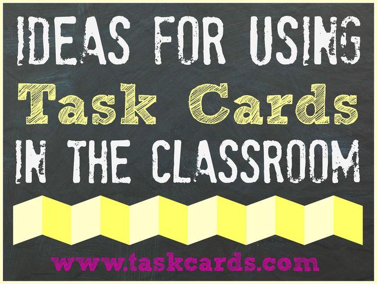 A huge compilation of ideas for using task cards in the classroom! Tanke: dra uppgiftskort vid träning med maskiner ex kontrollera sladden, gör rent maskinen mm. Vid övning drar varje deltagare en uppgift som de sedan visar/testar.