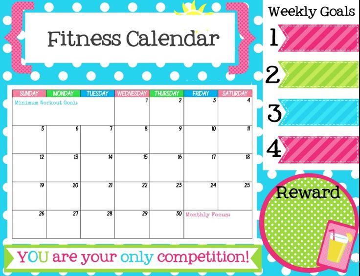 Free Printable Fitness Tracker Calendar | Calendar 2018 ...