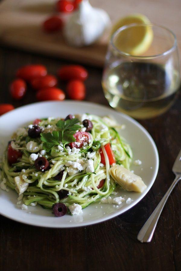 Mediterranean Zucchini Noodle Pasta #spirelli #glutenfree #vegetarian