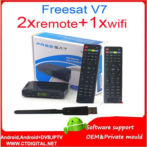 >> Click to Buy << Freesat V7 hd+2pcs freesat v7 remote control+wifi/AV diseqc receptor decodificador satelital powervu ccam 3g  freesat v7 wifi #Affiliate