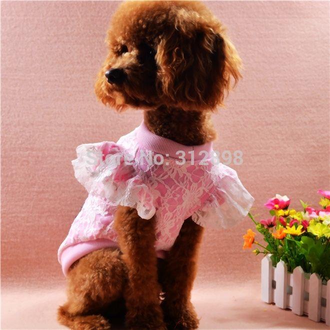 Pet roupas cor de rosa azul nova primavera verão XXS L rendas camiseta marca trajes do cão para pequenas filhote de cachorro animais gato Yorkshire Poodle em Coletes para Cachorros de Casa & jardim no AliExpress.com | Alibaba Group