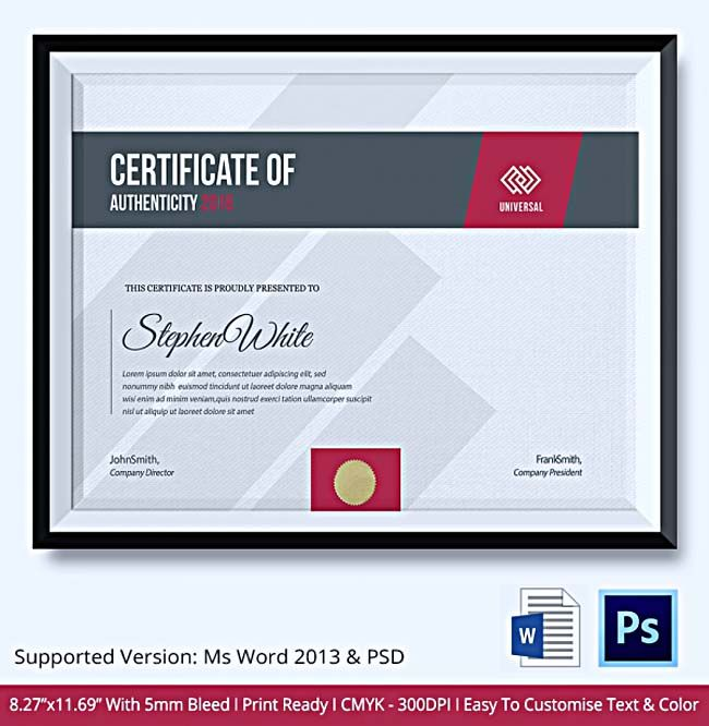 149 best certificate template images on pinterest certificate 8 sample certificate of authenticity documents in pdf psd yelopaper