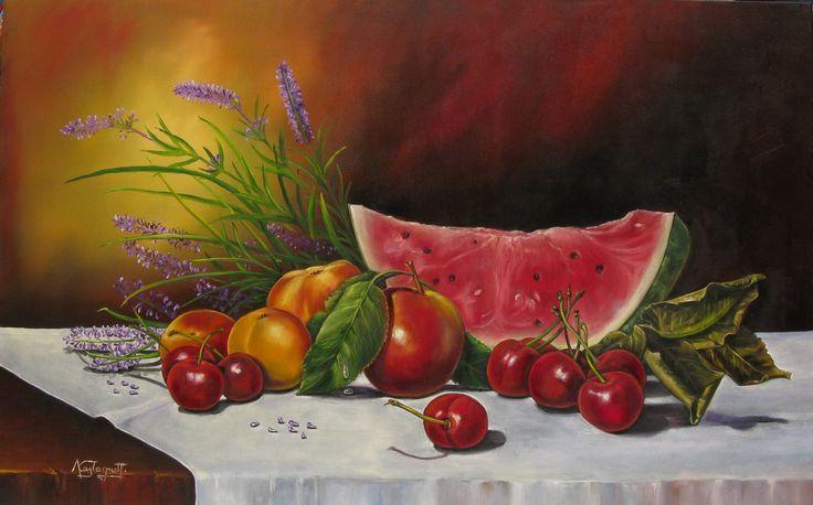 """""""Frutta d'estate"""" olio su tela (50 x 80)"""