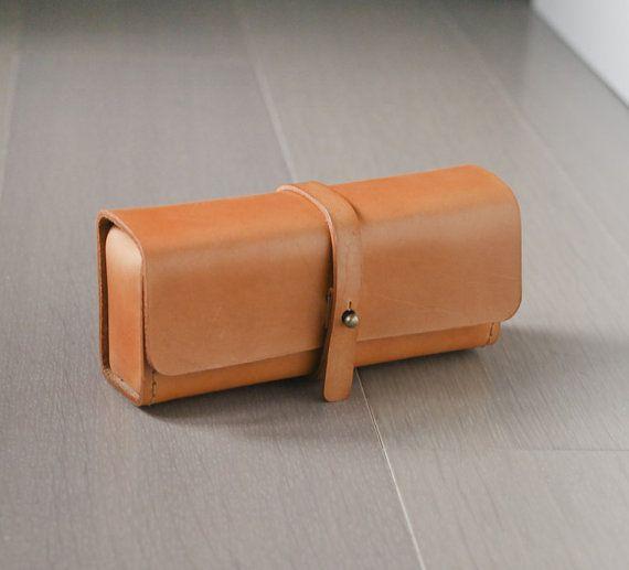 caramel color vegetable cow hide leather Pencil Case/Pen Pouch/ Sunglasses Case