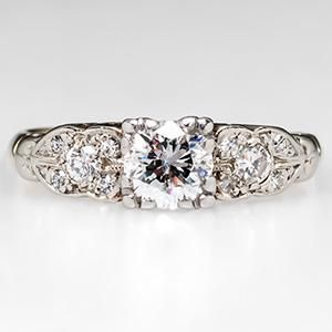 Retro Engagement Ring w/ 1/2 Carat Diamond 14K Gold Vintage 1950's