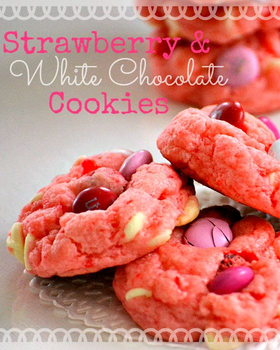 Strawberry and White Chocolate Cake Mix Cookie Recipe. Pink Valentine M&M cookies.