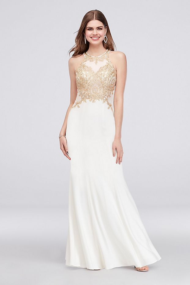 aca214842 High-Neck Mermaid Gown with Embroidered Bodice