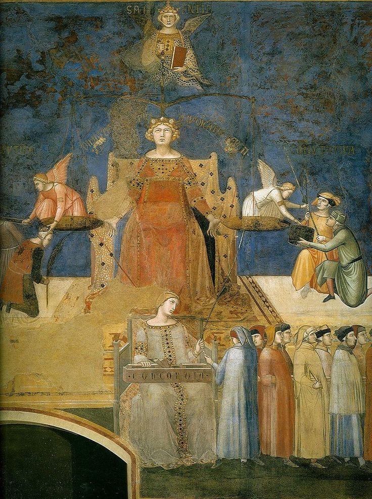 Allegory of the Good Government (detail) - a series of frescoes painted by Ambrogio Lorenzetti from around February 26, 1338 to May 29, 1339. La giustizia guarda alla sapienza e al libro che ha in mano, da un lato del piatto taglia una testa e perdona l'altra, dall'altro preleva le offerte