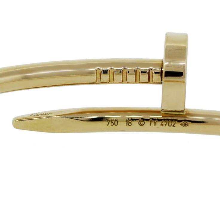 Cartier Yellow Gold Juste Un Clou Nail Bangle Bracelet Size 18