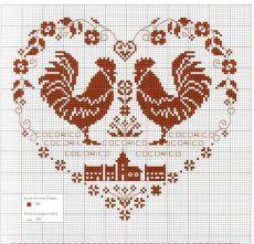 Вышивка Петуха – символа 2017 года крестиком | схема