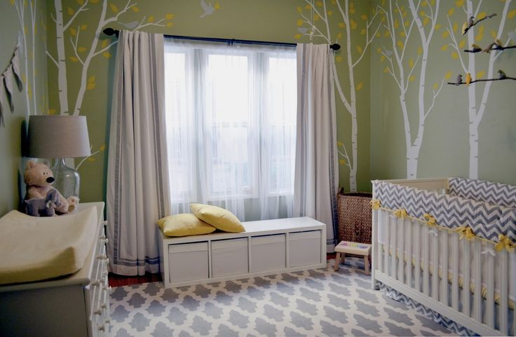 Gender-Neutral Nursery — Green Walls, White Birch Trees with Yellow Leaves — Wall Decals — Grey Birds — Bird Mobile — Grey and White Chevron Baby Crib Bedding with Yellow Accents — Shana Cunningham Designs www.shanacunningham.com
