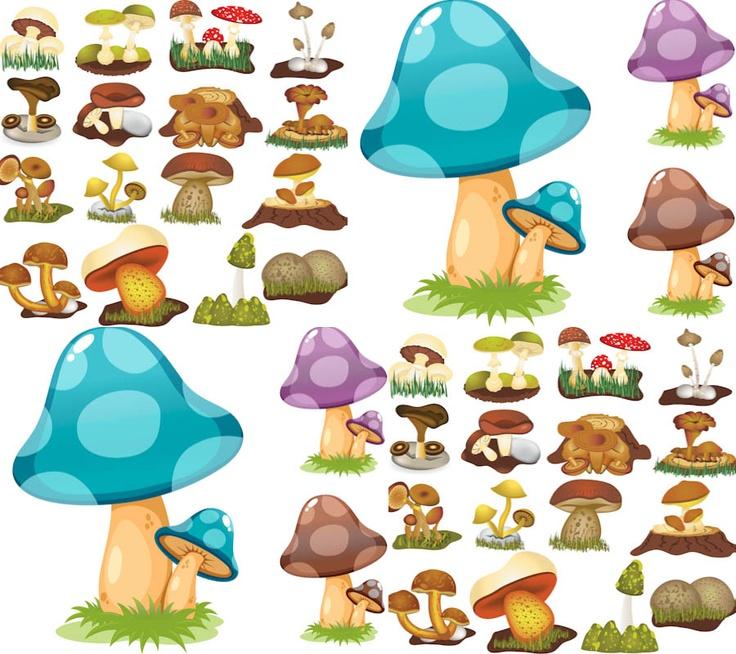 Color mushrooms vector Fairies, gnomes and mushrooms