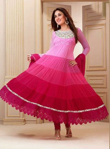 Kareena kapoor 03 - Pink Color Georgette Designer Anarkali