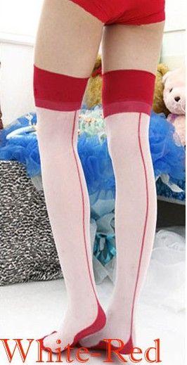 Aliexpress.com: Comprar 2015 Nueva Moda Mujeres Sexy Ladies Heal con Costura Costura Muslo Medias Altas Manguera Negro/Rojo/Desnudo HK para navidad Z1 de hk cielo fiable proveedores en Sunny Inc