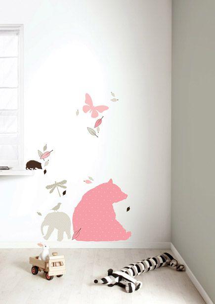 Set roze dieren muurstickers met grote beer voor meisjes.