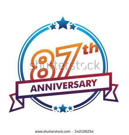 blue circle and star with purple ribbon 87th anniversary design vector