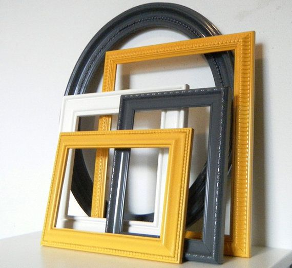 Modern Dark Grey and Mustard Yellow Wall Frame - if mustard isnt favoured as a main colour, it could be used for accessories