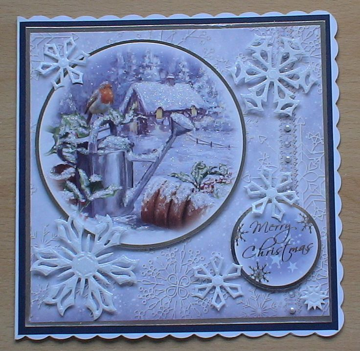 #hunkydory #createandcraft #spellbinders  The card is made using the Hunkydory 4 day deal christmas kit, I decorated it with snowflakes from a spellbinders die cut in white glitter card.